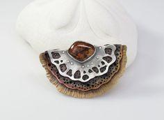 Half Shell Bronze Copper & Sterling by Leslie Zemenek of LeslieZemenekJewelry  |  Materials: Sterling Silver, Fine Silver, Bronze, Copper, Pietersite  $275.00