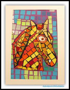 Mosaics with Paper: Horse Heads via RainbowsWithinReach