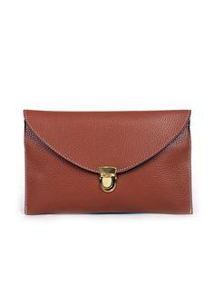 Gold Lock Envelope Clutch - Brown
