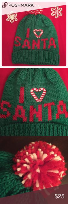 🆕 🎅🏽 I ❤️ Santa Pom Pom Beanie 🎅🏽 Authentic David & Young I ❤️ Santa Pom Pom Beanie. OS. Green with Red & White Details: Embroidered Candy Canes Heart. Red & White Pom Pom. Deep Cuff. 100% Acrylic. Brand New. Excellent Condition. No Trades. David & Young Accessories