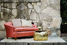 Bohemian Engagement Party | Unique Feminine Outdoor Vignette | Pink Tufted Loveseat | White Wicker Chair | Gold Florentine Tray | via Birch & Brass Vintage Rentals for Weddings and Special Events in Austin, TX