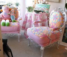 Quilt upholstered metal chairs pink by sunshinesyrie, via Flickr