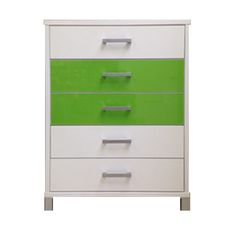URBAN 5 Draw Tallboy (Snowdrift White), Drawer 2 and 3 (Green Gloss)