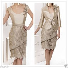 Lace Mother of the Bride Dresses With Coat Formal Outfit Evening Gown forWedding