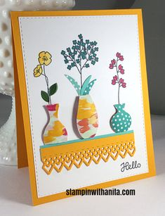 Create a light version of paper tole with Stampin up! Varied Vases stamp and punch. Create a light version of paper tole with Stampin Paper Flower Art, Paper Flowers, Paper Cards, Diy Cards, Paper Paper, Handmade Cards, Card Making Inspiration, Making Ideas, Send A Card
