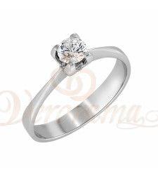 Μονόπετρo δαχτυλίδι Κ18 λευκόχρυσο με διαμάντι κοπής brilliant - MBR_028