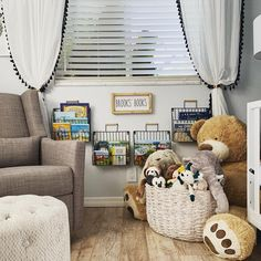 Loving this clever book storage in this Modern Meets Rustic Boy Nursery