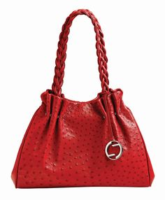 Red Full Quill Ostrich Bag By Lorenzi