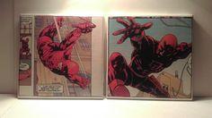 Daredevil Ceramic Tile Coasters Set of 2, Comic Book Art, Marvel Comics, Handmade by ComicBookCreations01 on Etsy