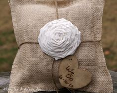 PERSONALIZED Burlap Ring Bearer's Pillow by mudpiesandmarigolds, $29.95