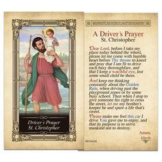 Driver's Prayer St. Christopher Laminated Holy Card