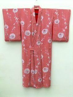 ☆ New Arrival☆ 'Women's #antique #Japanese #salmonpink #silk #kimono with #plum and #chrysanthemum pattern from #FujiKimono