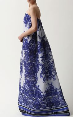 Floral Print Gazaar Gown With Watteau Back by Naeem Khan for Preorder on Moda Operandi