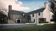 This dwelling took a traditional contemporary style of a simple L shaped formation based around the sun orientation. Modern Barn House, Modern Bungalow House, Rural House, Modern Cottage, Cottage Extension, House Extension Design, Extension Ideas, Modern Farmhouse Design, Modern Farmhouse Exterior