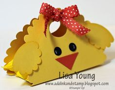 Lamb and Chick Treat Holders~ Make these with cardstock, paper punches,  ribbon and the treat to put inside!
