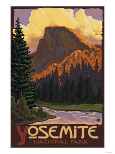 Shop Yosemite National Park - Half Dome Travel Poster Postcard created by LanternPress. Personalize it with photos & text or purchase as is! California National Parks, California Art, California Travel, Yosemite California, Vintage California, Arches Nationalpark, Yellowstone Nationalpark, Retro Poster, Vintage Travel Posters