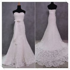"""oe Cocker and Jennifer Warnes - """"Up Where We Belong""""  WG024 – A timeless elegant A-line wedding dress with a sweetheart neckline. Embellished with beads and hand stitched lace highlighting the bodice and the round train. #wedding #gowns #dresses #bridal #love #romance #lace"""