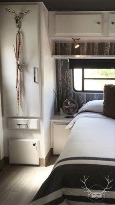 The Bedroom | After #RVRenovation #RVRemodel #Glamper #VintageTrailerRemodel