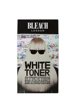 Step 4: Tone. After rinsing out the bleach and lightly shampooing, it's time for the most important step — the one that makes hair a cool white, rather than a brassy yellow. Apply a toner, like Bleach London's, all over damp hair, and let it sit for about 20 to 30 minutes. This step can be a little messy, so relax in the tub while you wait. Rinse thoroughly, and finish with a mask.