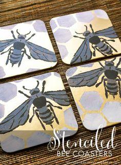 DIY: Stencil1 Stenciled Bee Coasters @mintedstrawberry.blogspot.com #streetart #edroth #Stencil1