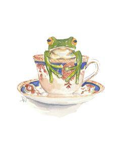 Frog Watercolour Original Painting, Teacup Watercolour, Illustration, Frog in a Teacup, 8x10 Painting. $49.00, via Etsy.