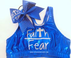 Faith over Fear Metallic Sports Bra and Bow Set Cheerleading Cheer Hair, Cheer Mom, Cheer Tips, Cheer Outfits, Dance Outfits, Cheer Clothes, Gymnastics Outfits, Cheerleading Outfits, Cheer Sports Bras