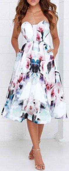 Floral Print Midi Dress ❤︎