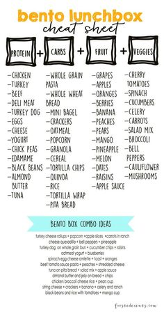 Bento Lunch Box Cheat sheet for a healthy meal prep! Bento Lunch Box Cheat sheet for a healthy meal prep! Lunch Snacks, Lunch Recipes, Healthy Recipes, Box Lunches, Bento Lunchbox, Diet Recipes, Snack Box, Kid Snacks, School Snacks