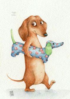 Dachshund Drawing, Dachshund Art, Dachshund Puppies, Dachshunds, Dachshund Zeichnung, Animals And Pets, Cute Animals, Weenie Dogs, Dog Art