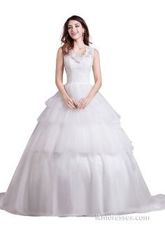 White Ball Gown Bridal Wedding Dresses with Flowers http://www.ikmdresses.com/White-Ball-Gown-Bridal-Wedding-Dresses-with-Flowers-p88068