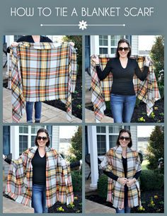How to Tie A Blanket Scarf Poncho Style