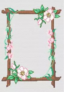 Frame with Flowers cross stitch pattern