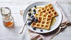 Nigella Lawson's waffles are the lazy perfect brunch dish and can be served with any toppings you choose. Grab that waffle iron and get going! Breakfast Biscuits, Breakfast Waffles, Breakfast Ideas, Breakfast Recipes, Nigella Lawson Waffles, Best Waffle Maker, Hot Chocolate Sauce, Waffle Bowl, How To Make Waffles