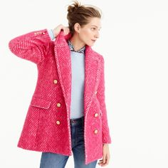 J.Crew Diamond Tweed Coat ($430) ❤ liked on Polyvore featuring outerwear, coats, pink blazer jacket, pink tweed coat, pink blazer, j crew blazer and tweed wool coat
