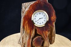 Quartz Clock Mounted in a Piece of Very Old Cedar Root  FREE SHIPPING Lathe, Mother Nature, Clocks, Mystery, Quartz, Free Shipping, Wood, Handmade