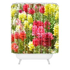 Lisa Argyropoulos Snappies Shower Curtain | DENY Designs Home Accessories #shower #curtain #cheery #bath #bathroom #guestbath #floral #snapdragons #pretty #pink #white #yellow #green #DENYdesigns #home #apartment #dorm