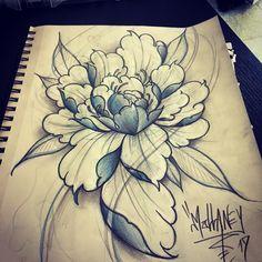 oriental flower Japanese flower peony flower tattoo