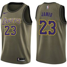 Nike Los Angeles Lakers  23 LeBron James Green NBA Swingman Salute to  Service Jersey Best 5af3b8276