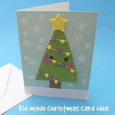 Kid made cute Christmas card — Sew Kidding Holiday Themes, Holiday Crafts, Xmas Greeting Cards, Homemade Christmas, Christmas Ideas, Wedding Planning, Activities, Cute, Kids
