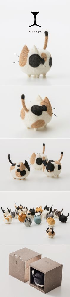 Probably the cutest thing I ever saw. woonya/ 猫/cat/羊毛フェルト/Needle/Felting/mascot/doll/home/style/products/art/designProbably the cutest thing I ever saw. woonya/ 猫/cat/羊毛フェルト/Needle/Felting/mascot/doll/home/style/products/art/design Cat Crafts, Kids Crafts, Arts And Crafts, Needle Felted Animals, Felt Animals, Wet Felting, Needle Felting, Ideal Toys, Doll Home