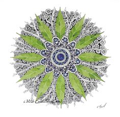 Print of Watercolor & Pen and Ink - Unique Mandala Wall Art - Earth Based Home Decor - Beautiful Leaf Design - Sacred Mandalas - Spiritual by CreateThriveGrow on Etsy
