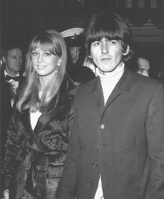 """March 24, 1966 - Newlyweds Pattie and George Harrison at the Plaza Haymarket theatre for the London premiere of the film, """"Alfie"""", which co-starred Paul McCartney's girlfriend Jane Asher."""