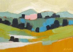 """""""The Yellow Sky, Pink Barn and Two Ponds"""" - Original Fine Art for Sale - © by Morgan Fink.  6"""" x 8"""""""