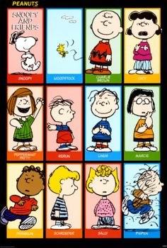 Peanuts: Charlie Brown is my cartoon crush, I'm like Lucy, I wish my name was Marcy, and I love Woodstock.