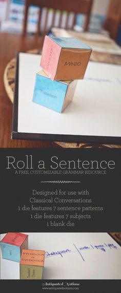 Roll a Sentence - a fun way to study the 7 sentence patterns for Classical Conversations Essentials