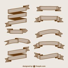 Banners and Ribbons Pack Free Vector screenshot Vintage Banner, Hand Lettering, Lettering Ideas, Free Graphics, Design Elements, Vector Free, Ribbons, Banners, Latte