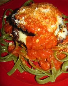 For the Love of Food: Broiled Eggplant Parmesan with Spinach Fettuccine