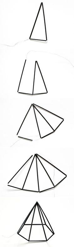 How easy methods to make a DIY himmeli geometric gem Diy Home Decor Projects, Diy Room Decor, Mobiles, Geometric Sculpture, Idee Diy, Diy Bow, Diy Candles, Diy Tutorial, Diy Design