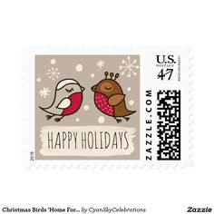 Christmas Birds 'Home For The Holidays' Personal Postage Stamp @zazzle