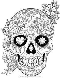 Free printable sugar skull (Day of the Dead) adult coloring page. Download it in PDF format at coloringgarden.co…